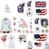 Watercolor Animal Unicorn Flag Patches Iron On Clothes Stickers DIY Decals Acces