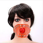 Leather Mouth Ball Gag Mask Plastic Ball Open Mouth Gag Face Bondage Restraint