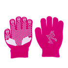 Kids Skating Gloves Stretchy Gloves with Rhinestone Snowflake for Age 5-12