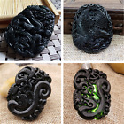 Chinese Natural Black Green Jade Pendant Dragon And Phoenix Eagles Lucky Pendant