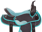 "USED 16"" TURQUOISE CRYSTAL SHOW HORSE SADDLE WESTERN SYNTHETIC LIGHT WEIGHT"