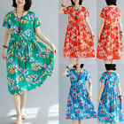 Summer Women Cotton And Linen O-Neck Short Sleeve Waistband Dresses
