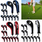 12Pcs Golf Club Iron Head Cover Headcovers with Zipper Long Neck Number Print