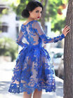 Royal Blue Cocktail Party Dresses Lace Appliques Knee Length Homecoming Dress