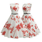 Women Ladies Flowers Sleeveless 1950s Retro Vintage Swing Cocktail Party Dress $13.67 USD on eBay