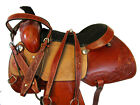 WESTERN RANCH ROPING PLEASURE TRAIL FLORAL TOOLED HORSE COWBOY SADDLE 17 15 16