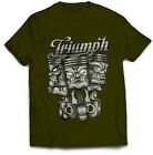 Triumph Motorcycle T Shirt Biker Style Sizes Small to 5XL Three Pistons Design