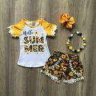 US Fashion Kids Baby Girl Clothes Sunflower Lace Tops T-Shirt+Short Pants Outfit