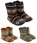 Mens Coolers Fairisle Faux Fur Lined Snowflake Boot Slippers Sz Size 7-12
