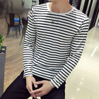Hoiliday Tops T-Shirt Fashion Male Round Long Sleeve Stripe Casual Polyester