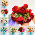 13 head artificial peony bouquet silk fake flowers wedding party home decoration