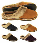 Ladies COOLERS Faux Fur Lined Faux Suede Warm Mule Slippers Sizes 4 5 6 7 8