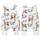US Summer Newborn Infant Baby Girl Floral Clothes Sleeveless Romper Deer Outfits