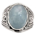 Natural Aquamarine Cab 925 Sterling Silver Ring Jewelry s.5.5 SDR59868
