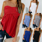 Women Fashion Sexy Solid Sleeveless Slash Neck Loose Ruched Great Blouse Tops