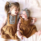 US Infant Kid Baby Girl Clothes Sister Matching Suspender Skirt Dress Outfit Set