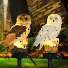 Garden Solar Powered Led Owl Night Lights Lawn Ornament Statue Fairy Stake Lamp