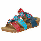 Laura Vita Bourges 80 Jeans Womens Navy Blue Red Leather Casual Sandals