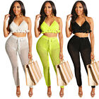 Women Halter Backless Tops Big Net Casual Club Bodycon Beach Wear Outfits 2pc