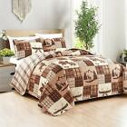 Twin Full Queen King Red Brown Plaid Deer Canoes Lodge 3 pc Quilt Set Coverlet image