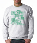 Gildan Crewneck Sweatshirt Sports Hockey Player Action Details Green