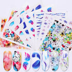 Nail Water Decals Colorful Flower Butterfly Patterns Transfer Stickers Nails DIY