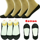 3-12 Pairs Womens Invisible Loafer Liner Lace Heart Black No Show Boat Socks