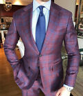 Men's Wool Classic Formal Windowpane Suits 2 Pieces Business Office Tuxedos NEW