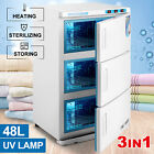 3IN1 UV Sterilizer Towel Warmer Cabinet Stainless Steel Salon Spa Facial Storage