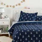Twin XL Full Queen Bed Bag Navy White Anchors Nautical 7 pc Comforter Sheet Set image