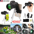 US Clip-on 40X60 Zoom Camera Lens Telescope Monocular +Tripod +Cell Phone Holder
