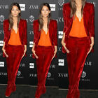 Red Velvet Womens Suits Blazer With Pants Female Business Evening Suit Work Wear