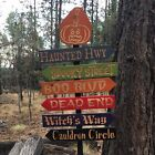 Creepy Halloween Streets Lawn Ornament Directional Signs - Carved Cedar Wood