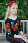 "Ukrainian Women's 3/4 sleeve shirt with real embroidery ""Bluetness"". Black"