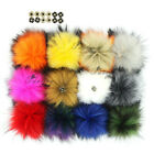 Pack of 12 Faux Raccoon Fur 14cm/5.5inch Pom Poms Fluffy Ball w/ Press Button