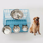EE_ STAINLESS STEEL DOG PET BOWl CAGE CRATE NON SLIP HANGING FOOD DISH WATER FEE