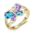 Mothers Ring Birthstone Gold Engraved 4 Stones Personalized Family Kids Names
