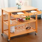Kitchen Rolling Island Cart Trolley Dining Storage Cabinet on Wheels W/ Drawers