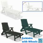 Foldable Garden Sunlounger Recliner Chair Bench With Footrest Outdoor Patio Bed