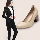 Womens Block Mid Heels Office Ladies Pointed Toe Casual Soft Shoes Office Pumps