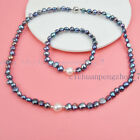 Handmade Real Natural Freshwater Baroque Pearl Necklace Bracelet Jewelry Set Aaa
