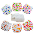 5 Diapers 5 INSERTS Cloth Diaper Nappies Adjustable Reusable Lot Baby Washable