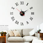 Wall Clock Watch Large Modern Simple DIY Sticker Decal 3D Roman Numeral Home