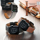 Breathable Genuine Leather Wrist Strap Watch Band for Apple Watch iWatch 4 3 2 1 image