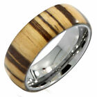 Zebra Wood 8mm Wedding Band with Polished Tungsten Carbide Sleeve Ring