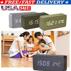 Voice Touch Control Digital Wooden Alarm Clock LED Screen Display Time Home US