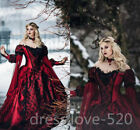 Gothic Medieval Red Black Wedding Dresses Long Sleeve Lace Applique Bridal Gowns