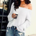 Women Off Shoulder Ripped Long Sleeve Jumper Sweater Ladies Knitted Pullover Top