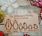 PERSONALISED CHRISTMAS FAMILY PORTRAIT PENGUIN NAME PLAQUE SIGN WOODEN XMAS GIFT