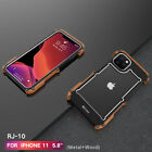 For iPhone 11 XS MAX Metal Armor Wooden Wood Frame Bumper Shockproof Case Cover
